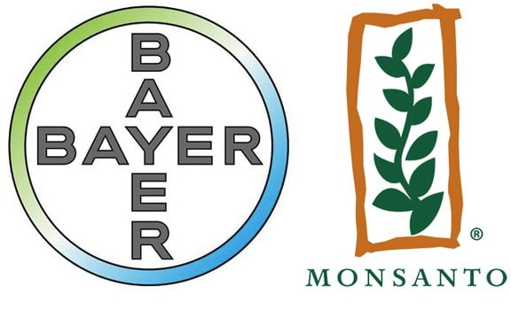 Logo's van Bayer en Monsanto